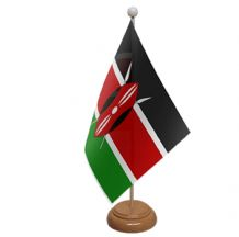 KENYA - TABLE FLAG WITH WOODEN BASE
